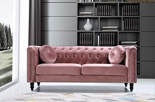 Container Furniture Direct Kittleson Mid Century Velvet Upholstered Nailhead Chesterfield Sofa