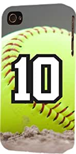Softball Sports Fan Player Number 10 Plastic Snap On Decorative iPhone 5/5s Case by ruishername