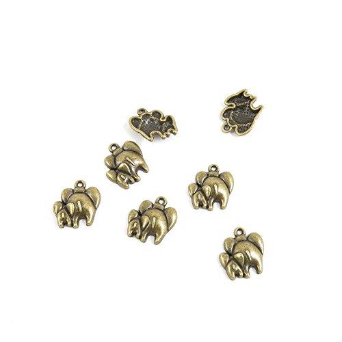 490 PCS Ancient Antique Bronze Fashion Jewelry Making Crafting Charms Findings Bulk for Bracelet Necklace Pendant Retro Accessoires Lots Vintage A9MC6H Mother Child Parent Elephants