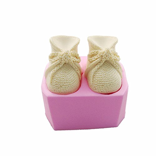 3D Knitted Baby Shoes Silicone Fondant Molds Cake Tool Cake Decorating DIY Mould Candle Soap Clay Mold ()