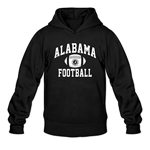 Alabama Crimson Tide Personalized Distressed Football Hoodie Sweatshirt Black For Men ()