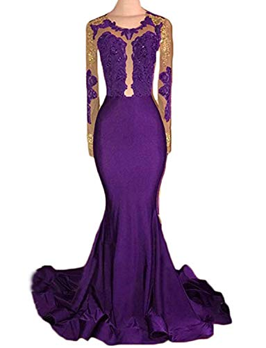 (TTYbridal Long Sleeve Mermaid Prom Dress Sexy Appliqued 2019 Formal Evening Dresses P36 Purple 26)