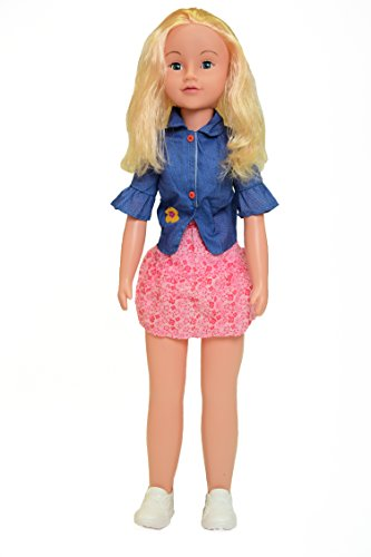 "Uneeda's 32"" Wispy Walker Life Size Walking Doll (Blonde Hair, Denim Shirt & Pink Skirt)"