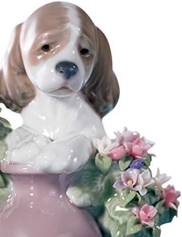 LLADR Take Me Home Dog Figurine. Porcelain Puppy Figure.
