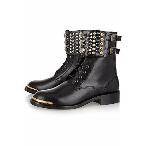 Eur Cuero eur39uk665 Zapatos 7 Botas Corto Nvxie Apuntado Mujeres Invierno uk Spring 40 Otoño Plano Tobillo Negro Black qw7x4qU0S