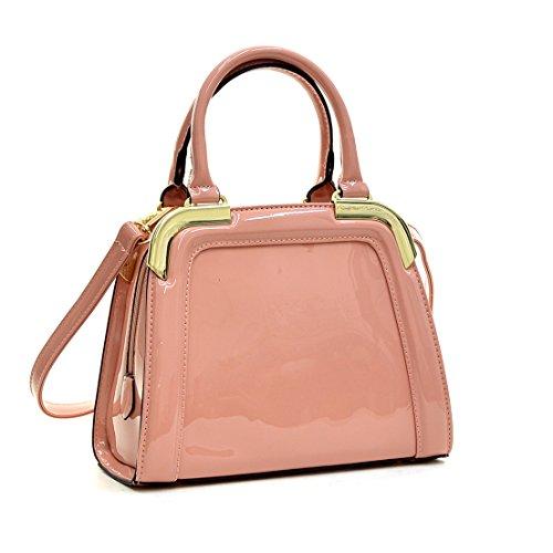 Dasein Small Patent Leather Satchel Mini Corner Gold Tone Handbags Womens Crossbody Shoulder Bag (Box Pink Handbag)