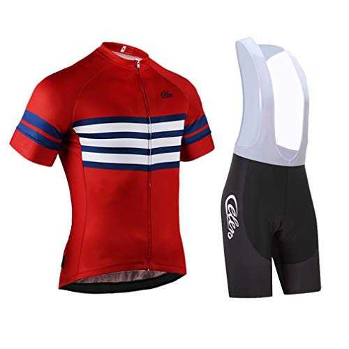 (Celero Men's Cycling Suits Short Sleeve Bike Jersey and Bib Shorts(Red,L))