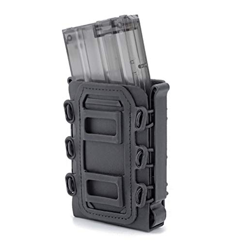 Simways Rifle Mag Pouch Holster 5.56 and 7.62 Soft Magazine Pouches Holder Tactical Mag Carrier with Molle Clips for M4 M16, AR15, AK47 Magazine (Black)