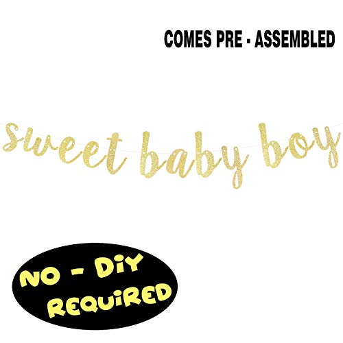 Its A Boy Sign (Sweet Baby Boy Gold Glitter Cursive Script Bunting Banner It's a Boy Baby Shower First Birthday Party Decoration Garland Fireplace Table Wall Sign - NO DIY)