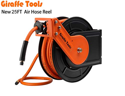Giraffe Air-Hose-Reel with 3/8 in. x 25 Ft Hybrid Air Hose,Auto Retracble,300PSI Heavy Duty-Reel