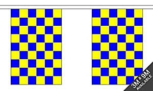Royal Blue/Yellow Checkered Bunting 3m (10 flags)