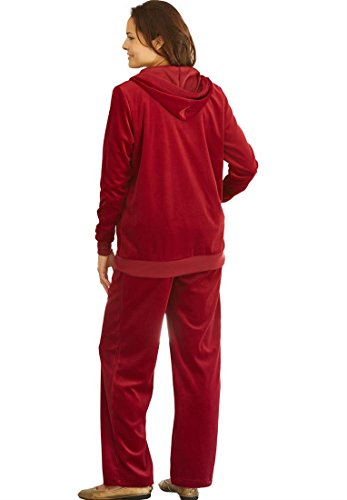 Women's Plus Size Hoodie & Pants Set In Soft, Colorful Velour