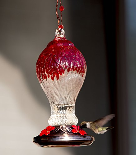 Best Hummingbird Feeder Ever! - Beautiful Red Drip Glass and Copper Finish with 4 Nectar Feeders - 100% Guaranteed to Attract the - At Valley Mall Stores View