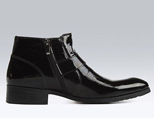 Herren Lederschuhe Herren Lederstiefel High-Top-Schuhe kurze Stiefel britischen Stil Tide wies Martin Stiefel Herrenschuhe ( Farbe : Weinrot , größe : EU 41/UK7 ) Schwarz