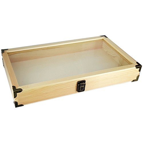 (Mooca Natural Wood Glass Top Jewelry Display Case Accessories Storage Box with Brass Corners Organizer)
