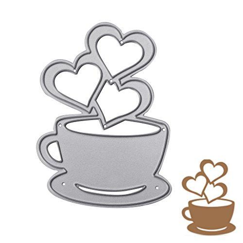 Arich Heart Coffee Cutting Dies Stencils Scrapbook Album Embossing Card DIY Craft Decor