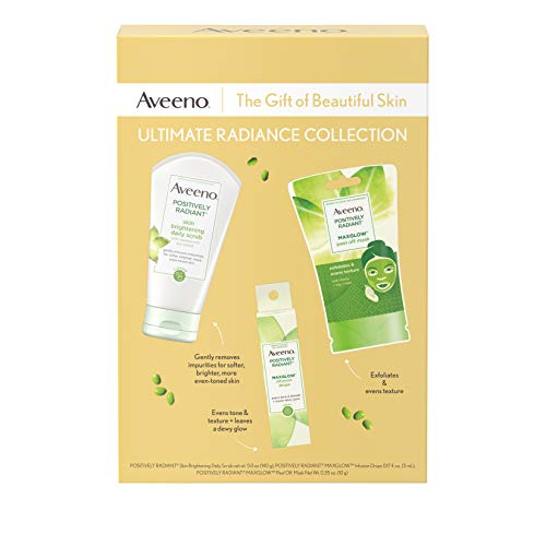41G7CppsQ%2BL - Aveeno Ultimate Radiance Collection Skincare Gift Set with Brightening Daily Face Scrub, Peel-Off Face Mask, and Infusion Drops, Evens Skin Tone for Softer, and Glowing Skin, 3 items