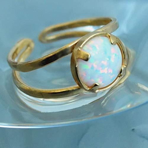 (White Opal ring Gold. Adjustable Fire Opal Handmade)
