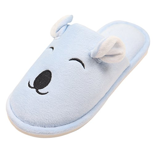 Chicnchic Mujer Comfort Pink Cute Cotton Bear Pantuflas Animal Slip On Indoor Home Zapatos Blue