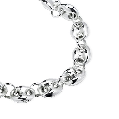 Sterling Silver High Polished Puffed Anchor Mariner Chain Bracelet, 7 Inches by Hoops & Loops (Image #1)
