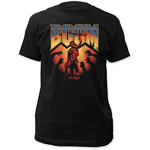 Army of Darkness Boom Stick Brick Logo Print on a Men's Slim Cotton Shirt X-Large Black