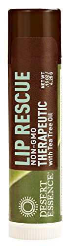 Tea Tree Oil Eco Harvest - Desert Essence Lip Rescue Therapeutic with Eco Harvest Tea Tree Oil - 0.15 oz - 3 Pack - Antiseptic Balm - for Cracked Lips, Cold Sores - for Softer, Smoother Lips - Moisturizer - Cruelty-free - Vegan