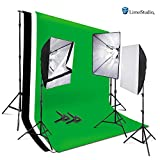 LimoStudio 2400W Photo Soft Box Light Lighting Kit with 6'x9' Backdrops Backgrounds Support Kit