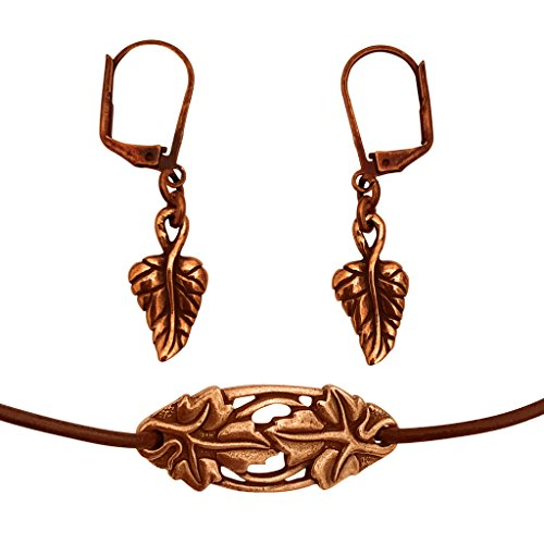 DragonWeave Elven Ivy Leaves Charm Necklace & Earring Set, Antique Copper Brown Leather Adjustable 16-18