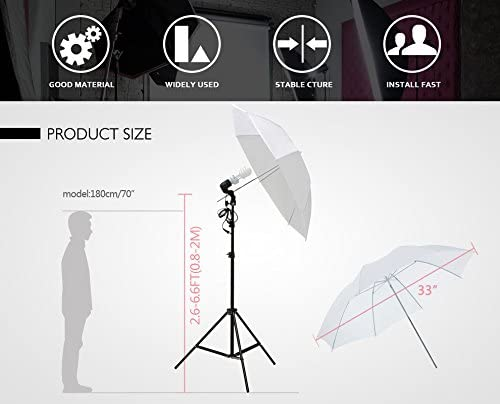 2x33 Photo Video Studio Umbrella Reflector Photography Stand Lighting Kit White
