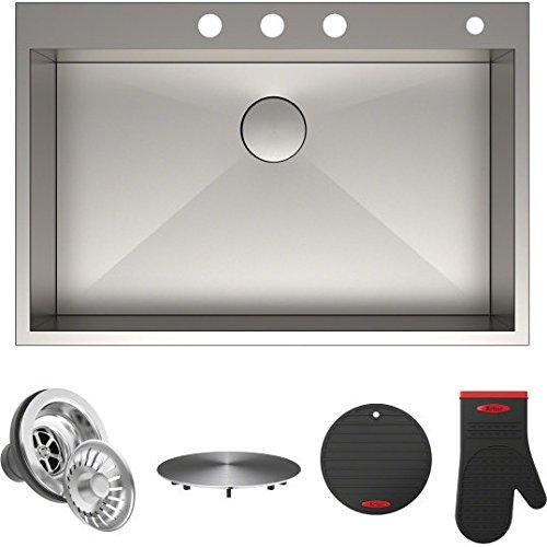 Kraus KP1TS33S-4 Pax Kitchen Sink Single Bowl 33 Inch 33