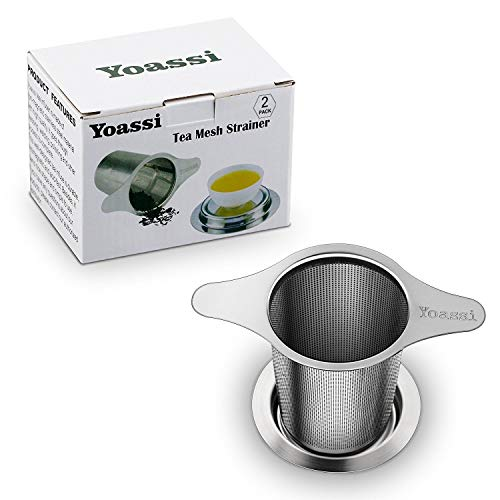 Yoassi 2 Pack 18/8 Stainless Steel Tea Infuser Mesh Strainer with Large Capacity & Perfect Size Double Handles for Hanging on Teapots, Mugs,Cups to steep Loose Leaf Tea and Coffee