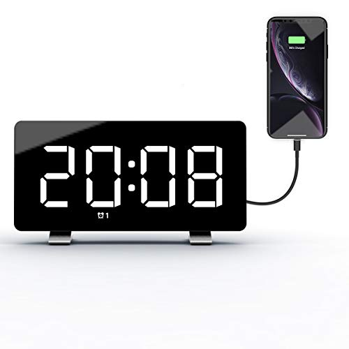Nicewell Digital Alarm Clock 7.3'' LED Screen with Snooze Adjustable 0-100 Brightness Volume Dimmable Easy for Kid Senior Bedside Alarm Clock for Bedroom Home Office 12/24H
