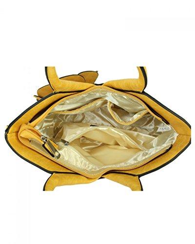 LeahWard Frauen 3D Blumen Handtaschen Qaulity Kunstleder Tote SchultertascheNette Handtasche für ihren Urlaub 10711 (BLASSES ROSA) PRISIMMON GELB