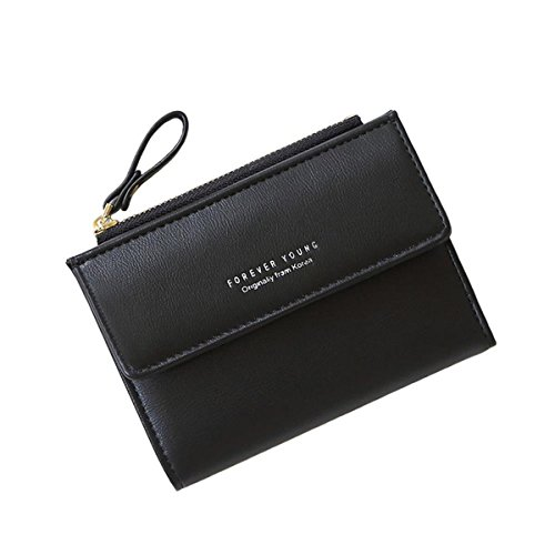 Black Mini Wallet - Women Small Wallet Lady Mini Purse Bifold Leather Short Wallet RFID Blocking with ID Window (B-Black)