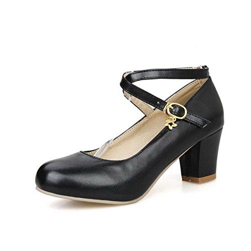 Allhqfashion Womens Zacht Materiaal Gesp Rond Gesloten Teen Kitten-hakken Stevige Pumps-schoenen Zwart