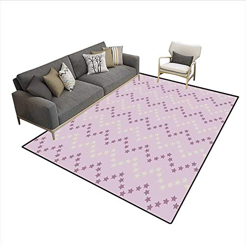 Floor Mat,Zig Zag Stars Striped Pattern in Pastel Color Ranking Choice Kids Artsy Print,Area Carpet,Yellow and Lilac 6'x9' for $<!--$193.22-->