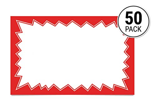 (Price Card Signs for Sales, Events, 3.5-inch x 5.5 inch, 50 Red Tags per Pack - Burst)