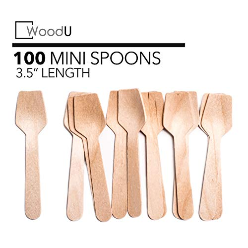"""WoodU Wooden Miniature Spoons 3.5"""" Disposable Square End (Pack of 100) Perfect for Crafts, Sugar Scrubs, Tasting and ()"""