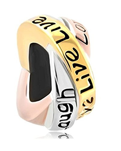 Creationtop Charms Trinity Ring Live Love Laugh Silver Plated Charm Bead (4.8-5mm)
