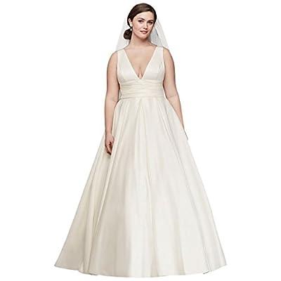 David's Bridal Satin Cummerbund Plus Size Wedding Dress Style 9V3848