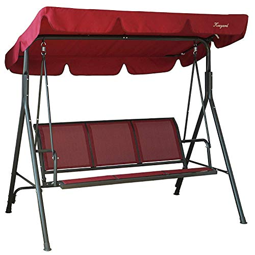 Kozyard Belle 3 Person Outdoor Patio Swing with Strong Weather Resistant Powder Coated Steel Frame and Textilence Seats (Red)