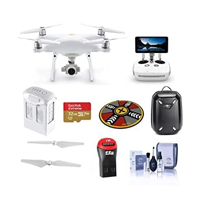 DJI Phantom 4 Pro+ V2.0 Quadcopter Drone with 5.5in FHD Screen Remote Controller - Bundle with 32GB MicroSDHC Card, Backpack, Intelligent Battery, Propellers, Drone Landing Pad, And More