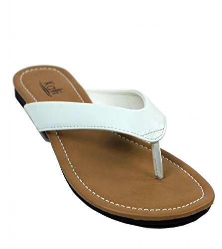 Kali Footwear Women's Cocoa Flat Thong Sandals, White 8