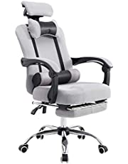 YALLA OFFICE 802-Gry-Fr Ergonomic Office Chair Ergonomic Mesh With Wheels, Cushion & Back Support- AdjustableHeadrest Backrest Armrest (With Footrest, Grey)