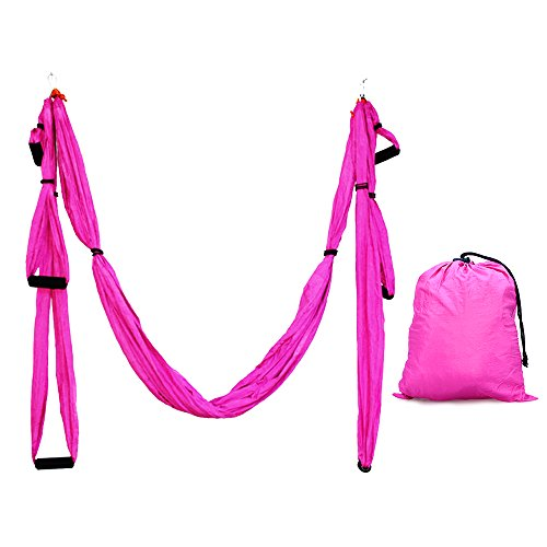 Aerial Yoga Swing, X-CAT Ultra Strong Antigravity Yoga Hammock with 210T Parachute Fabric and Padded Foam Handles for Air Yoga Inversion Exercises (Pink)