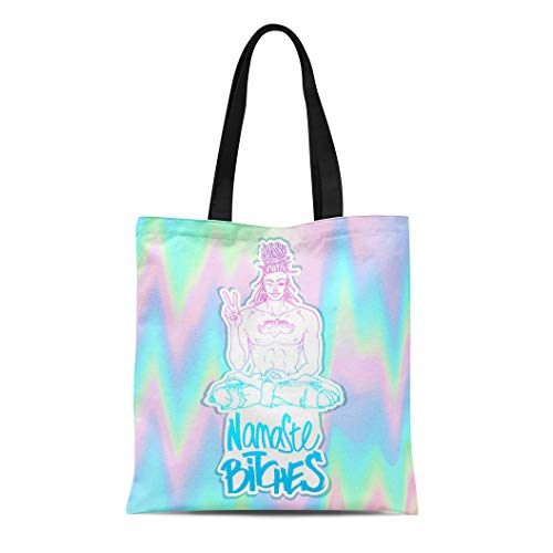 Semtomn Canvas Tote Bag Contemporary Sexy Buddha Showing Peace Sign and Winking Lettering Durable Reusable Shopping Shoulder Grocery Bag