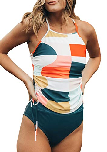 (Women's Halter Ruffle High Waisted Bikini Two Piece Swimsuits Bathing Suits (Tag XL=US 10, S05 Drawstring)