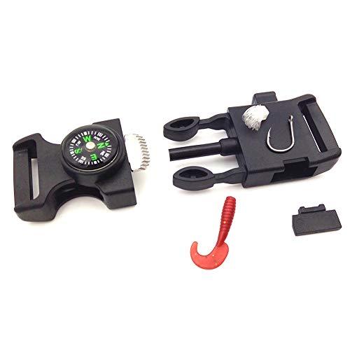 Buckle Hook Bracelet (10 PCS Emergency Whistle Buckle Come with Compass Fire Starter Flint Scraper for Outdoor Camping Paracord Bracelet Plastic Survival Travel Kits Buckles Striker (Black))