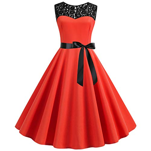 FORUU Vintage Dresses for Womens, Ladies 1950s Retro O Neck Sleeveless Bowknot Lace Splice Solid Party Prom Swing Bridesmaid Wedding 1920s 1950 Newest Arrivals Trendy Stylish Elegant Cute]()