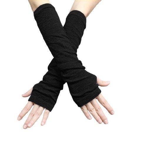Unisex Classic Fashion Stretch Fingerless Arm Warmmer Oversleeve Black